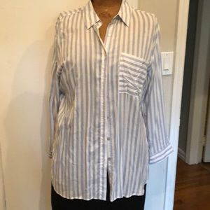 Long striped button down shirt / roll up sleeves